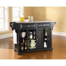 kitchen island with stainless steel top alexandria stainless steel top kitchen island wood black crosley