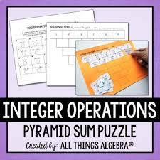 integer operations pyramid sum puzzle by all things algebra tpt