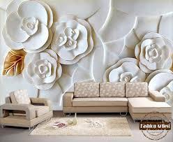 custom modern 3d floral wallpaper mural embossed white flower