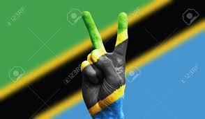 Tanzinia Flag Tanzania National Flag Painted Onto A Male Hand Showing A Victory