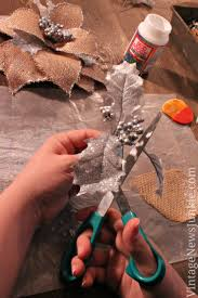 how to make a burlap flower with glitter tutorial