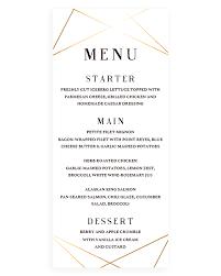 wedding menu cards template geometric wedding menu card template instant papersizzle