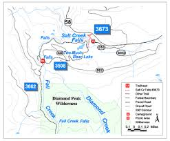 map of hwy 58 oregon map of salt creek falls trail and willamette national forest