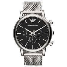 black mesh bracelet images Emporio armani ar1808 men 39 s chronograph date mesh bracelet strap