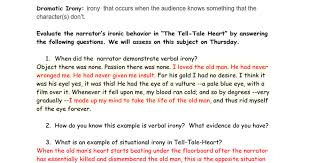 irony in the tell tale heart answers google docs