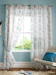 sasha teal blue floral slot top voile embroidered curtain panels