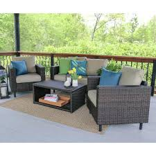 Leisure Made Draper Piece Wicker Patio Conversation Set With Tan - Home and leisure furniture