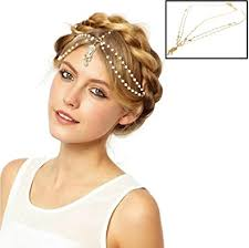 chain headpiece gold tone indian style hair pendent circular