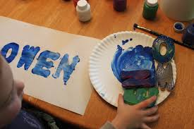 stamp art with foam letters