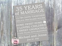 35 year anniversary gift personalized 35th anniversary gift for him 35 year wedding