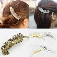 hair grips 2017 big feather hair grips gold silver plated barrette