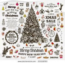 christmas decoration collection set calligraphic typographic stock