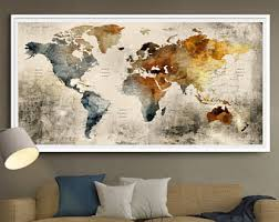Marvelous Decoration World Map Wall Decor Canvas Print Art Multi