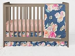 Floral Crib Bedding Sets Vintage Blue Floral Crib Bedding Set 3