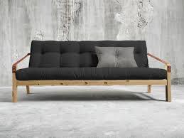 matelas futon canapé canapé convertible en bois avec matelas futon et accoudoirs cuir