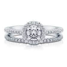 promise engagement and wedding ring set sterling silver halo promise engagement stackable ring set r833