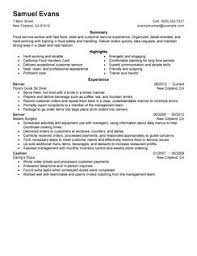 Example Of Server Resume by Resume Examples For Fast Food