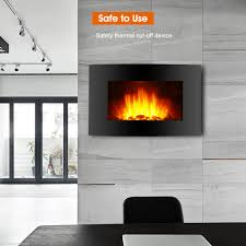 wall mounted fireplace flicker flame electric heater warmer living