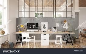 interior home office 3 d render stock illustration 422858647