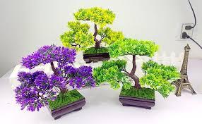 green plants pine small bonsai silk flower artificial flower green