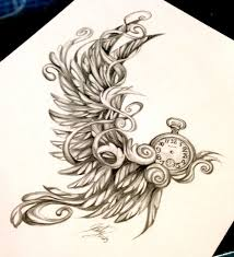pocket watch with wings but one wings different to the other