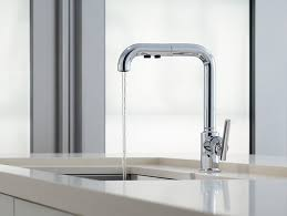 single kitchen sink faucet k 7505 purist single handle pull out spray kitchen sink faucet
