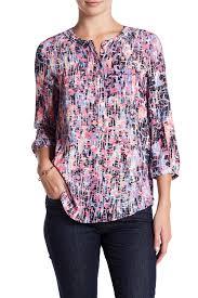 print blouse nydj henley 3 4 length sleeve print blouse nordstrom rack