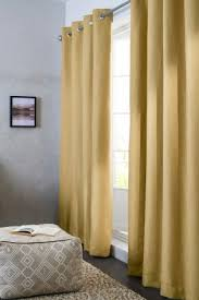 ochre blackout textured weave eyelet curtains bedroom