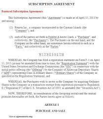 sample subscription agreement sample investment advisory