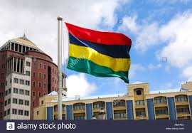 Mauritius Flag National Flag Of Mauritius In Front Of The State Bank Building In
