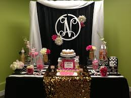 White Buffet Table by Black White Pink And Gold Candy Table Designed By Glam Candy