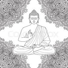 Sitting Buddha In Lotus Position On Floral Background Sign For Buddhist Coloring Pages