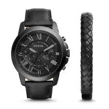 fossil black leather bracelet images Grant chronograph black leather watch and bracelet set fossil