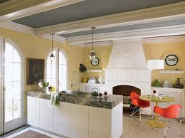 Yellow Kitchen With White Cabinets - white cabinets with yellow accent acrylic chairs reclaim gray wood