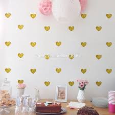 metallic gold wall stickers heart shaped pattern vinyl wall decals