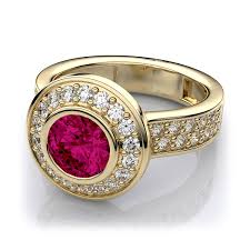ruby engagement rings vintage halo bezel set ruby and diamond engagement ring in 14k