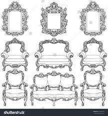 baroque furniture luxurious ornaments set vector stock vector