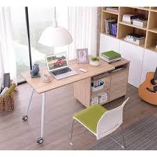 bureau coulissant informatique 2 en 1 avec rangement coulissant en bois