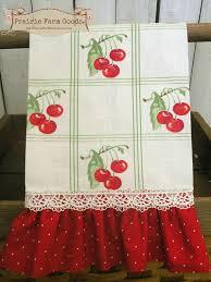 Cherry Kitchen Curtains by Cheery Cherries Retro Farmhouse Kitchen Towel Red Ruffles Ecs