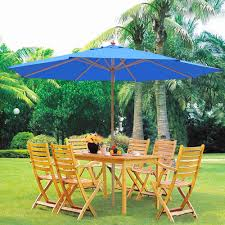 Beach Patio 13 Ft Patio Wood Umbrella German Wooden Pole Outdoor Beach Cafe