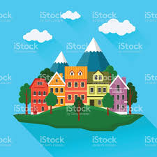 summer cityscape urban landscape with small cute houses and