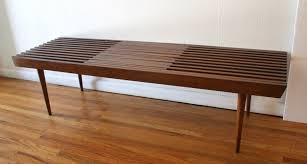 mid century modern extending slatted coffee table bench picked