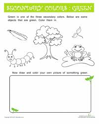 objects that are green worksheets secondary color and green colors