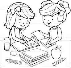 milk coloring pages students doing homework black and white coloring book page stock