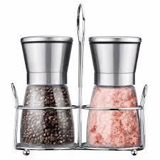 cooking salt u0026 pepper grinders set premium stainless steel glass
