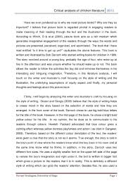 Examples Of Critical Essays Critical Analysis Of Children Literature