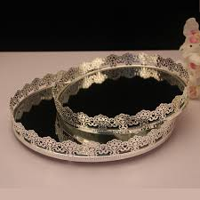 metal platters european style metal silver plated cake plate tray makeup