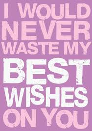 waste my best wishes humorous birthday card by blunt cards creased