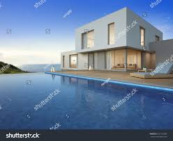 luxury beach house sea view swimming stock illustration 722122585