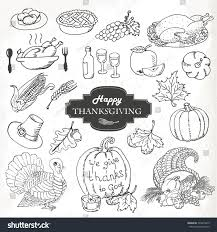 sketch doodle thanksgiving icon set stock vector 224015650